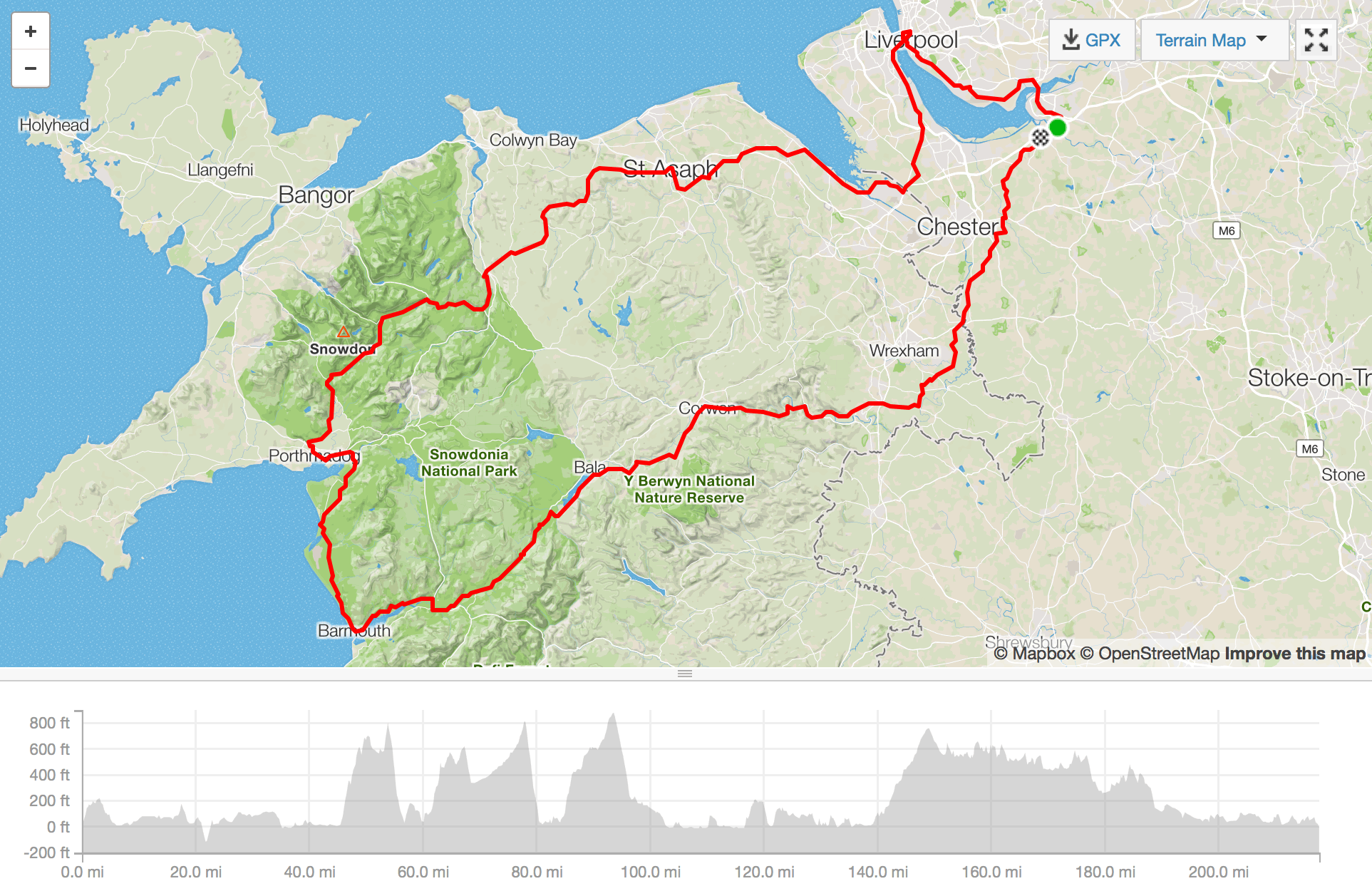 strava map charity bike ride north wales