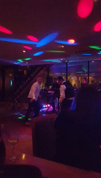 Hitting the dance floor with some serious moves.
