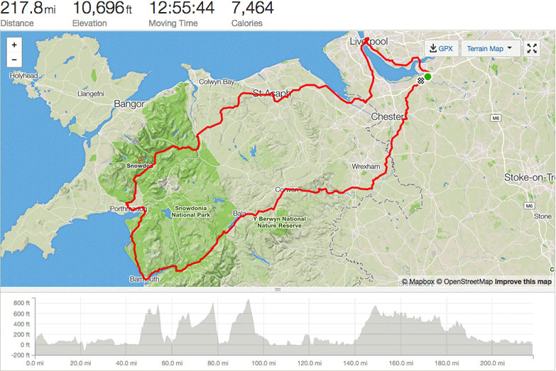 Strava map ride stats 220 mile charity bike ride north wales