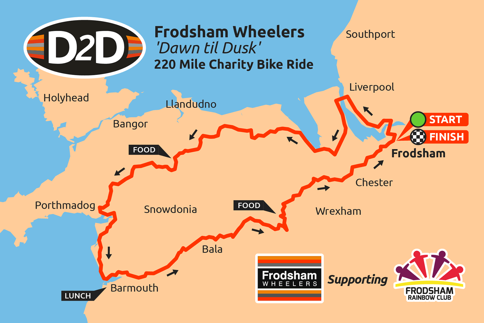 charity bike ride map north wales cycle ride d2d 2016