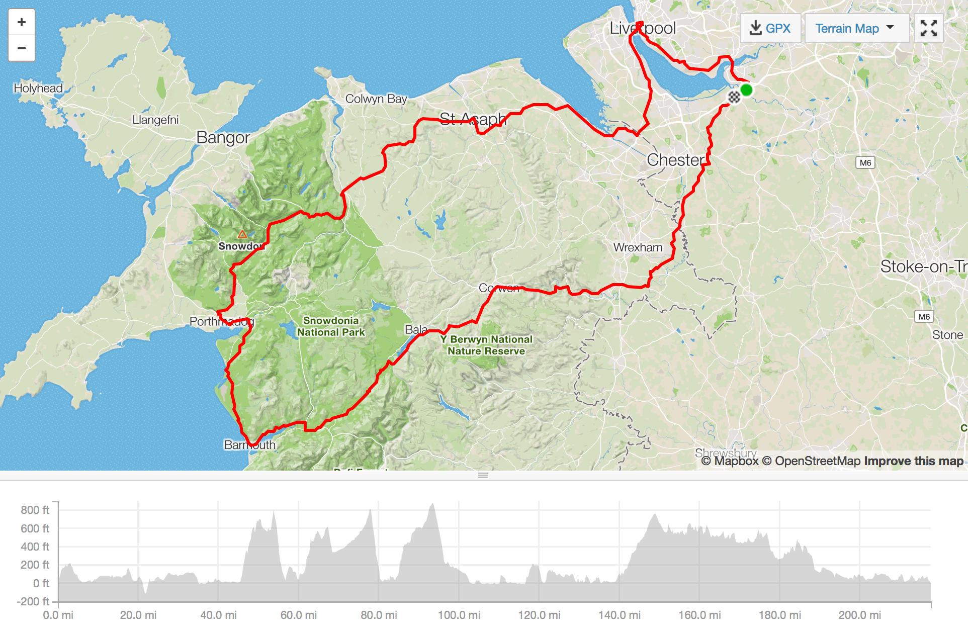 strava map charity bike ride north wales