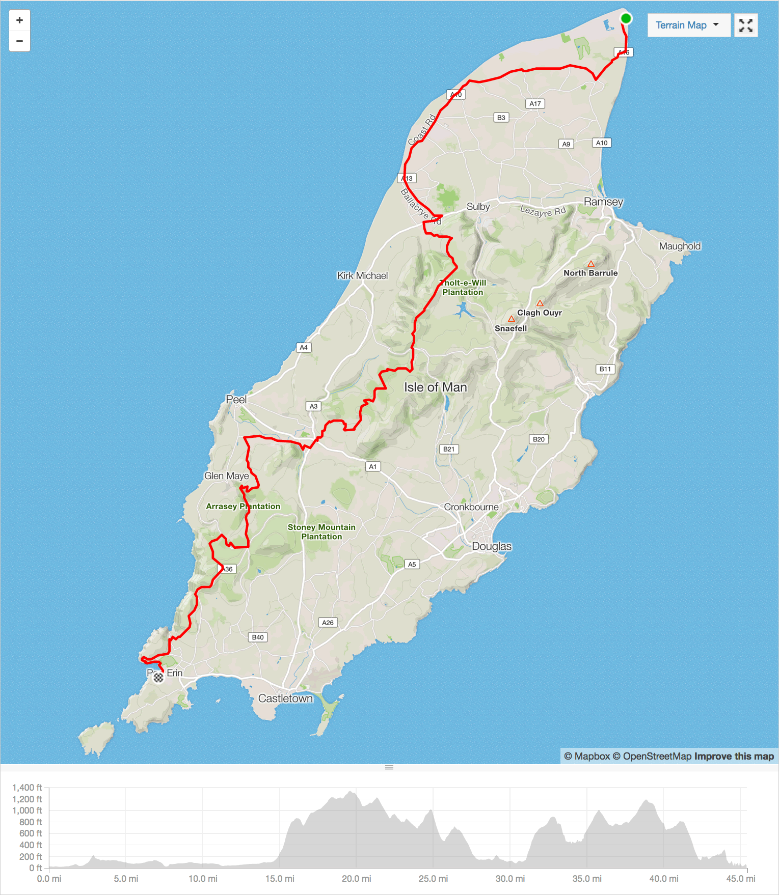 isle of man end to end mountain bike challenge route map 2016