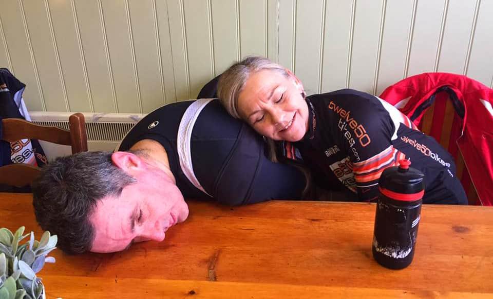 tired cyclists tillys coffee shop bunbury cheshire