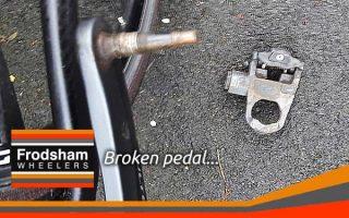 broken bicycle pedal thumb