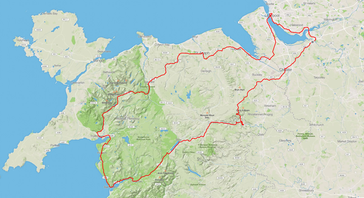 220 mile cycle route north wales d2d 2017