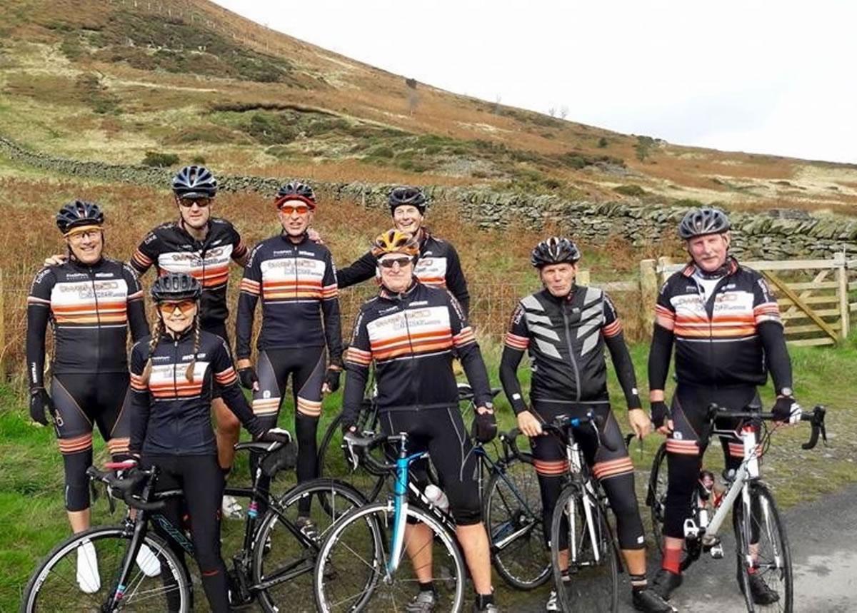 cyclists moel arthur north wales