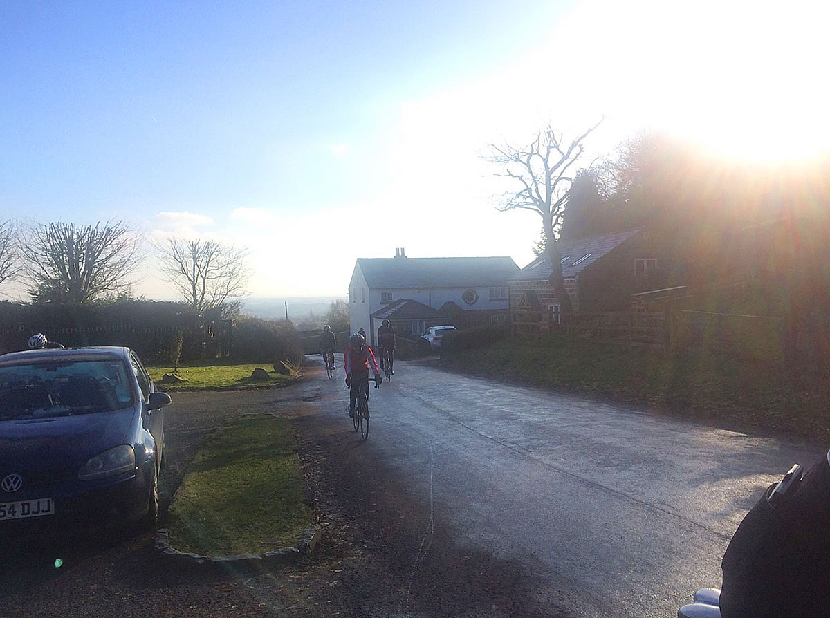icy roads cycling cheshire