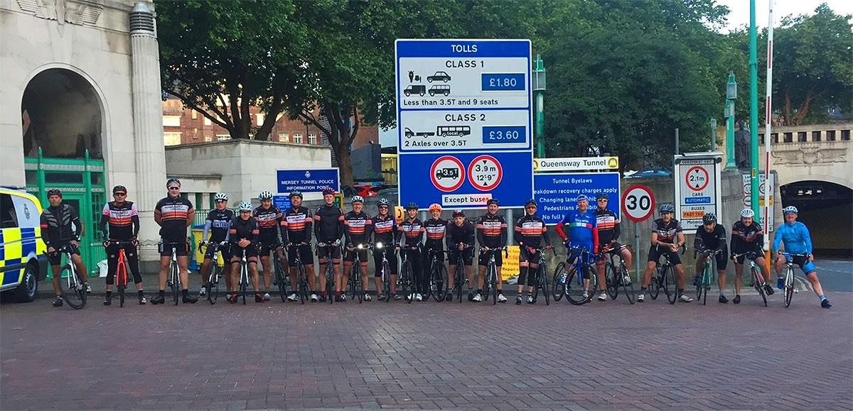 endurance cyclists birkenhead tunnel liverpool entrance