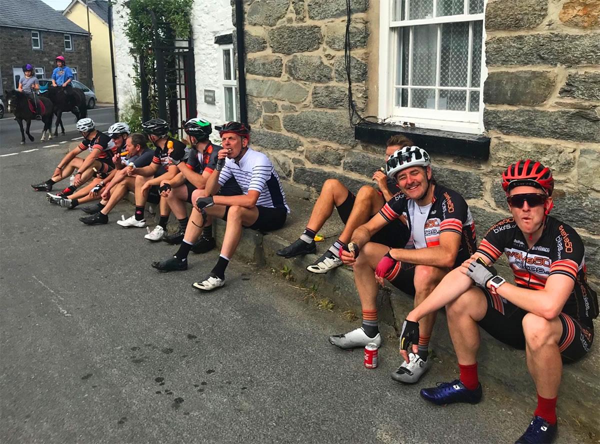 endurance cyclists enjoying icecream llandrillo