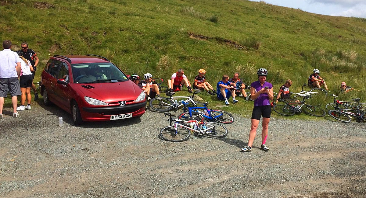 tired endurance cyclists penmachno north wales
